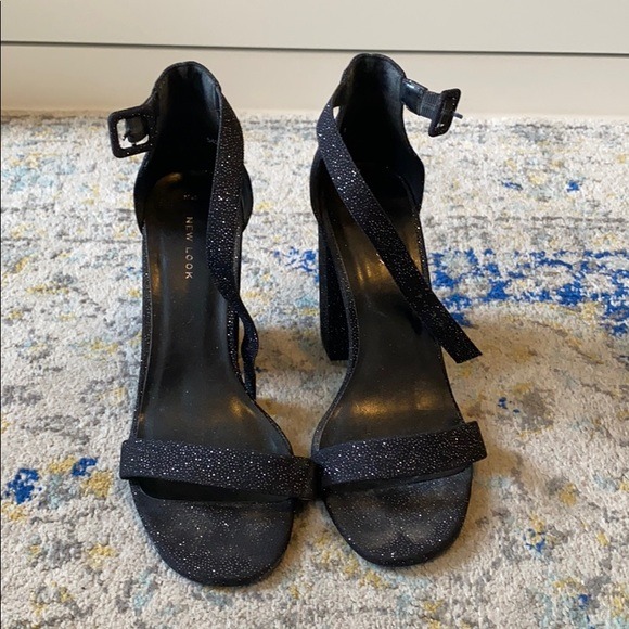 New Look Black Sparkly Strappy Sandals